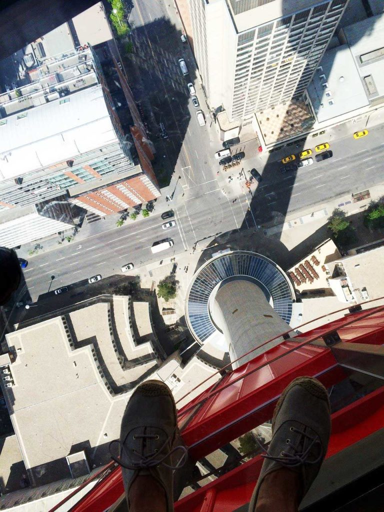Looking down from the Calgary Tower